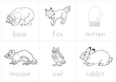 example animal flash cards for Jan Brett's The Mitten