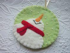 Felt Snowman Ornament Penny Rug Applique by pennysbykristie,