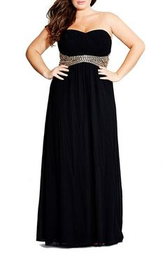City Chic 'Bejewelled Belle' Strapless Gown (Plus Size)