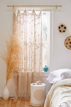14 Fabulous Rustic Chic Bedroom Design and Decor Ideas to Make Your Space Special - The Trending House Decor, Interior, Boho Curtains, Bamboo Beaded Curtains, Bedroom Design, Window Panels, Boho Bedroom, Home Decor, Apartment Decor
