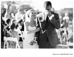 Groom crying after the two are pronounced man and wife. Such a cute moment to capture
