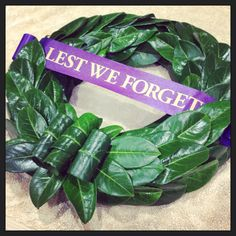 Laurel wreath for Anzac Day service at school. Poppy Wreath, Funeral Ideas, Anzac Day, Remembrance Day, Laurel Wreath, Floral Designs, Bouquets, Flower Arrangements, Poppies