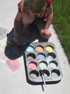Sidewalk Paint So here's the quick & easy recipe to paint the driveway: equal parts cornstarch & water (I did 1 c. of each) few drops of food coloring  I divided it out into a muffin tin and did different colors in each section.  We painted with some old foam brushes.