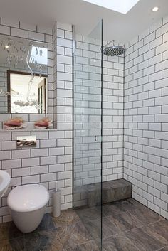 kids' walk in shower, subway tile, glass wall.  I like how the floor just extends into shower.
