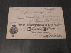 Vintage English Prescription Envelope 1944 by WhiteHartAntiques