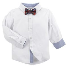 G-Cutee® Toddler Boys' Button Down Shirt with Bowtie - Winter White