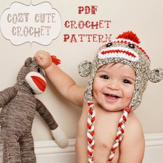 Sock Monkey Hat Pattern  PDF Crochet Pattern  by CozyCuteCrochet