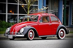 Black and red classic VW Beetle