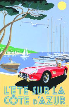 Pullman Editions: 1959 Ferrari 250 GT California Spider - Côte d'Azur Poster, £395 http://www.quintessentiallygifts.com/Pullman-Editions-1959-Ferrari-250-GT-California-Spider---C--te-d---Azur-Poster-1177/