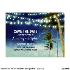 beach blue ombre save the date postcards There is nothing prettier than wedding on the beach with string light decorations! Looking for beach or destination save the date ideas? This navy / royal blue ombre seaside palm trees save the date postcard is just a perfect choice for the tropical island beach wedding theme. --------------Please contact me if you have a question regarding design or have a custom color request. ----------- If you push CUSTOMIZE IT button you will be able to change…