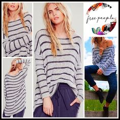 """❗️1-HOUR SALE❗️Free People Tunic Mini Pullover 💟NEW WITH TAGS💟  Free People Tunic Sweater Mini  * A flowy & relaxed silhouette  * Incredibly soft, stretch-to-fit loose knit fabric  * Scoop neck, long sleeves, & side vents  * About 29""""-31"""" long, w/Hi-Lo hem  * An oversized slouchy fit  Fabric: Cotton, nylon, & Spandex blend Color: Charcoal Striped Combo  Pastel marled Item#FP96900 🚫No Trades🚫 ✅Offers Considered*/Bundle Discounts✅ *Please use the 'offer' button to submit an offer. Free…"""
