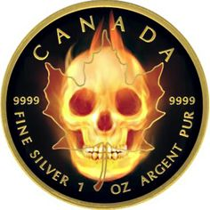 Burning Maple Leaf & Skull 1 oz silver coin Ruthenium & Gold Plated Canada 2015