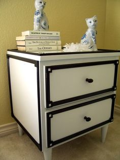 Nightstand Makeover - we could do something like this but reversed to bring in the white top? grey/white trim