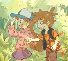 annoyed bags under eyes baseball cap blush book borrowed garments braces brother and sister brown hair brown shorts dipper pines flower forest gravity falls hairband half-closed eyes hand holding happy hat hetero holding long hair mabel pines na Gravity Falls Anime, Gravity Falls Dipper, Gravity Falls Fan Art, Gravity Falls Bill, Dipper X Mabel, Dipper Pines, Mable And Dipper, Bill X Dipper, Mabel Anime