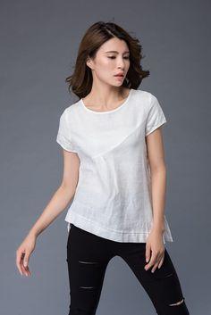 T-shirt en lin blanc T-shirt irrégulière col rond loose fit