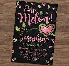 Watermelon Chalkboard Invitation - Summer Picnic Birthday Party Invite - BBQ - Outdoors - Printable or Printed - SHIPPING INCLUDED - 4x6