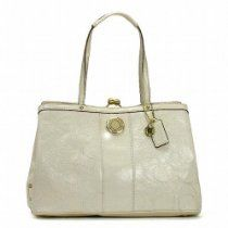Coach Signature Stitch Patent Leather Carryall Handbag Purse Ivory 19215 From Coach - Bags or Shoes Shop