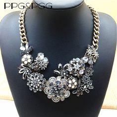 PPG&PGG New Fashion Jewelry Women Vintage Rhinestone Flower Statement Necklace Crystal Bib Pendants