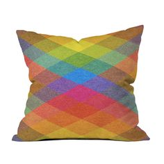 Liven up your favorite throw pillow with this cool and colorful cover. Boasting a multicolor diamond design, this Spectrum Pillow Cover will make a delightful addition to a modest couch, statement sofa...  Find the Spectrum Pillow Cover, as seen in the #ElectricBoho Collection at http://dotandbo.com/collections/electricboho?utm_source=pinterest&utm_medium=organic&db_sku=109395