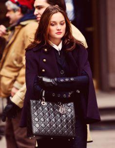 Cape, leather gloves & Dior bag / Blair