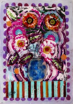 Helen O'Keefe, Birthday Flowers, Collage background and painting on plexiglass with acrylic and varnish, 50 x 70 cm. Rise Art, Collage Background, Online Art Gallery, Abstract Expressionism, Pop Art, Contemporary Art, Sculpture, Drawings, Birthday
