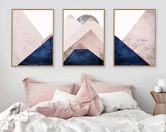 Set of 3 Prints, Mountain Print Set, Navy, Blush, Trending now art, Trending now prints, Downloadable Prints, Set of Prints, Scandinavian