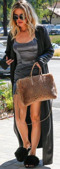 Khloe Kardashian: Dress – My Style Mode  Shoes – Givenchy  Purse – Balmain  Sunglasses – Porsche