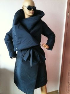 Верхняя одежда ручной работы. Ярмарка Мастеров - ручная работа Пальто  зимнее стеганная ткань- темно f0f3353490