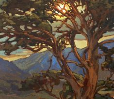 Mission Arts and Crafts CRAFTSMAN Pine Sunset - Giclee Fine Art PRINT of Original Painting matted by Jan Schmuckal - Sun Screen Giclee edition print – printed especially for you! The second photo from the top shows - Contemporary Landscape, Abstract Landscape, Landscape Paintings, Art Aquarelle, Art And Craft Videos, Guache, Tree Art, Painting Inspiration, Fine Art Prints