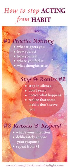 Work Motivation Quotes : How to stop our habitual reactions or acting simply out of deep seated Habits (t Relation D Aide, Health And Wellness, Mental Health, Spiritual Health, Health Facts, Health Tips, Health Care, Usui Reiki, Coping Skills