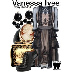 Penny Dreadful by wearwhatyouwatch on Polyvore featuring Alice by Temperley, Nine West, Palm Beach Jewelry, television and wearwhatyouwatch