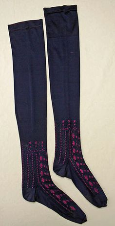1870-1889 ca.  Stockings.  Blue silk with pretty pink embroidery.  metmuseum.org   suzilove.com