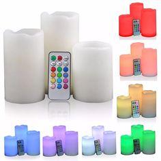 kit 3 velas multicolor led control remoto efecto rgb oferta