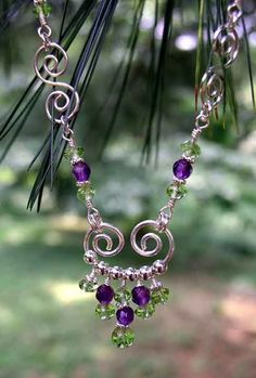 Necklaces: Sterling Silver Gemstone Wire Wrapped Birthstone Beaded Necklaces by Stacilynn88