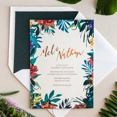 Dreamy tropical garden party wedding invitations with copper foil details by @thedistillery - inspired by the tropical flowers at the wedding venue a couple hours south of Sydney, Australia! On OSBP today!