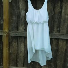 Chiffon hi low dress White Charlotte Russe hi low dress gently worn I bought this off POshmark  but doesn't fit me .beautiful color. Charlotte Russe Dresses High Low