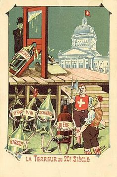 Absinthe Prohibition Poster - Absinthe Poster showing an anti-prohibition postcard by Gantner. If the reign of terror against Absinthe succeeds, will beer, wine and other alcoholics be next?;