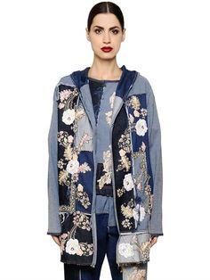 ANTONIO MARRAS FLORAL PATCHWORK COTTON DENIM JACKET, DENIM. #antoniomarras #cloth #casual jackets