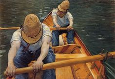 Boaters Rowing on the Yerres, Gustave Caillebotte Medium: oil,canvas Oil On Canvas, Canvas Prints, Art Prints, Urban Painting, Boater, Rowing, Book Of Life, French Artists, Art Blog