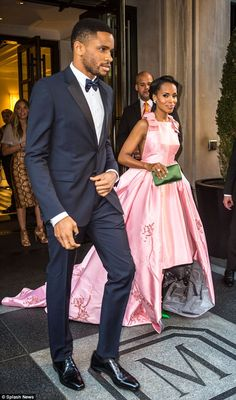 Escort: Kerry's husband escorted her to the Met Gala but did not pose for photos on the red carpet