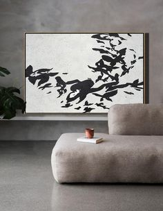 CZ Art Design - Hand painted oversized Horizontal Minimalist Abstract Flower Art, black and white floral painting canvas art. Perfect for contemporary homes and neutral interiors. #MN8C