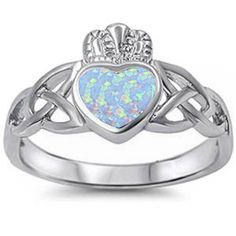 Claddagh Ring White Opal Claddagh Ring Celtic Irish Claddagh Promise Ring Solid 925 Sterling Silver Lab White Opal Wedding Engagement Ring