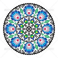 Polish Traditional Folk Pattern in Circle - Patterns Decorative