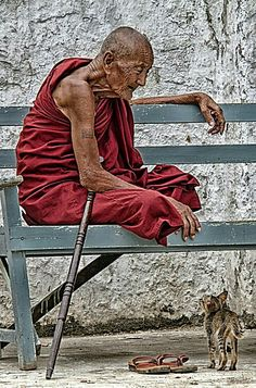 Old monk , Myanmar.