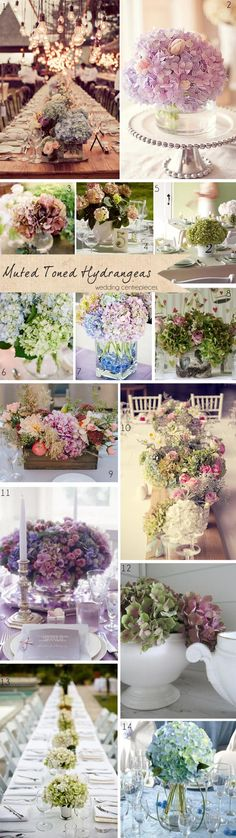 Muted Toned Hydrangeas ~ Get To Know Your Wedding Flowers Blumenschmuck mit Hortensien Inexpensive Wedding Flowers, Navy Wedding Flowers, Wedding Colors, Wedding Bouquets, Wedding Centerpieces, Wedding Table, Wedding Decorations, Wedding Ideas, Wedding Ceremony