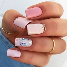 Square nails are one of the most popular nail shapes for many girls. The square nail design is beautiful and perfect for any color nail polish. So you can boldly choose square nail design, will be beautiful and fashionable. Classy Nails, Stylish Nails, Cute Nails, Pretty Nails, Simple Nails, Square Nail Designs, Nail Art Designs, Nails Design, Acryl Nails