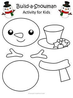 Click now and use this free printable paper snowman template cut out for your next winter craft! This snowman is cute and easy for kids of all ages; including kindergartners, preschool age and toddlers! He makes a cute coloring page activity or winter craft decoration - choice is all yours! #SnowmanCrafts #SnowmanTemplate #WinterCrafts #SimpleMomProject