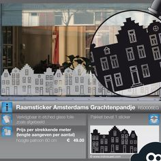 Window Decal Amsterdam Canal Houses.•°•° Raamsticker - Amsterdamse Grachtenhuisjes in Etched Glass Stijl.
