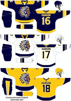 A 2018 concept for the Charlestown Chiefs from the movie Slap Shot. Ice Hockey Jersey, Slap Shot, Hockey Logos, International Teams, Uniform Design, Jets, Design Ideas, Concept, Movie