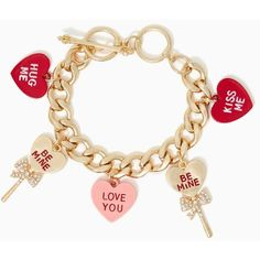 Candy Heart Charm Bracelet (540 THB) ❤ liked on Polyvore featuring jewelry, bracelets, accessories, red, charm bangle, bow bangle, heart jewelry, rhinestone bangle and red heart jewelry